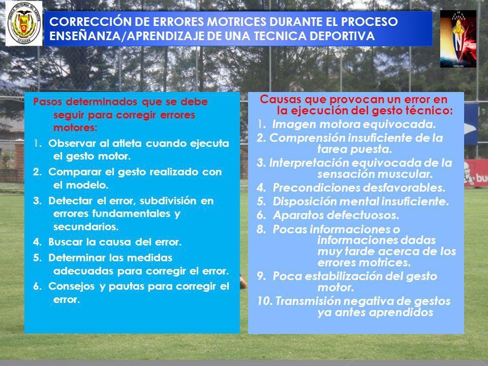 CORRECCIÓN DE ERRORES MOTRICES DURANTE EL PROCESO ENSEÑANZA/APRENDIZAJE DE UNA TECNICA DEPORTIVA Pasos determinados que se debe seguir para corregir e