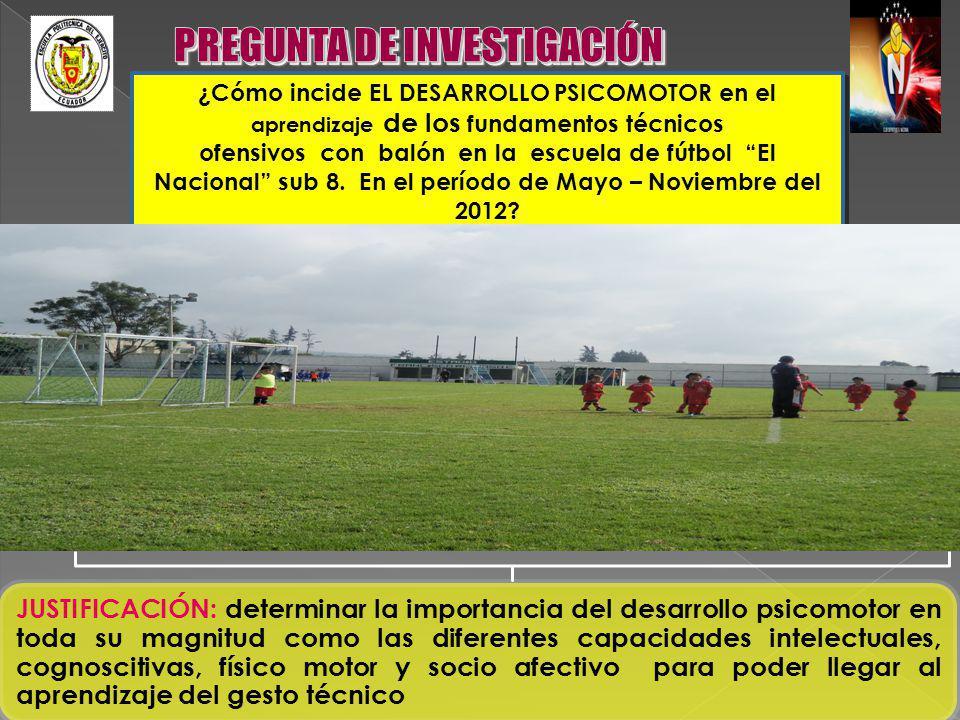 ¿Cómo incide EL DESARROLLO PSICOMOTOR en el aprendizaje de los fundamentos técnicos ofensivos con balón en la escuela de fútbol El Nacional sub 8. En