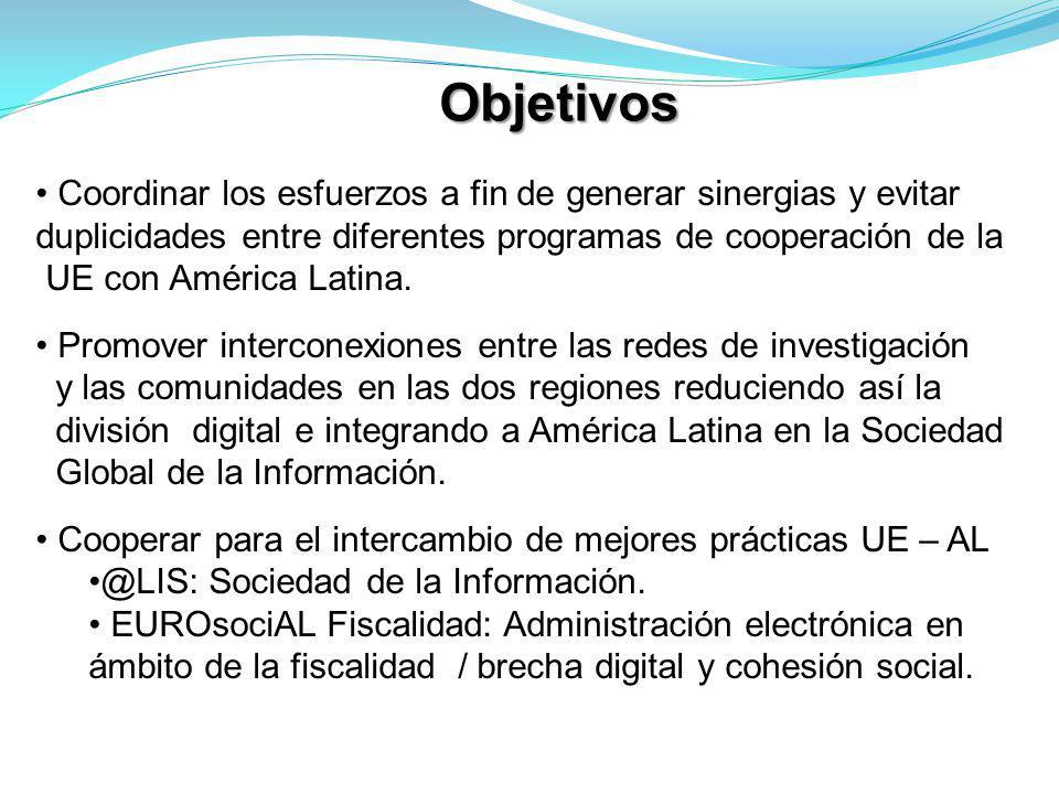 Objetivos Coordinar los esfuerzos a fin de generar sinergias y evitar duplicidades entre diferentes programas de cooperación de la UE con América Latina.