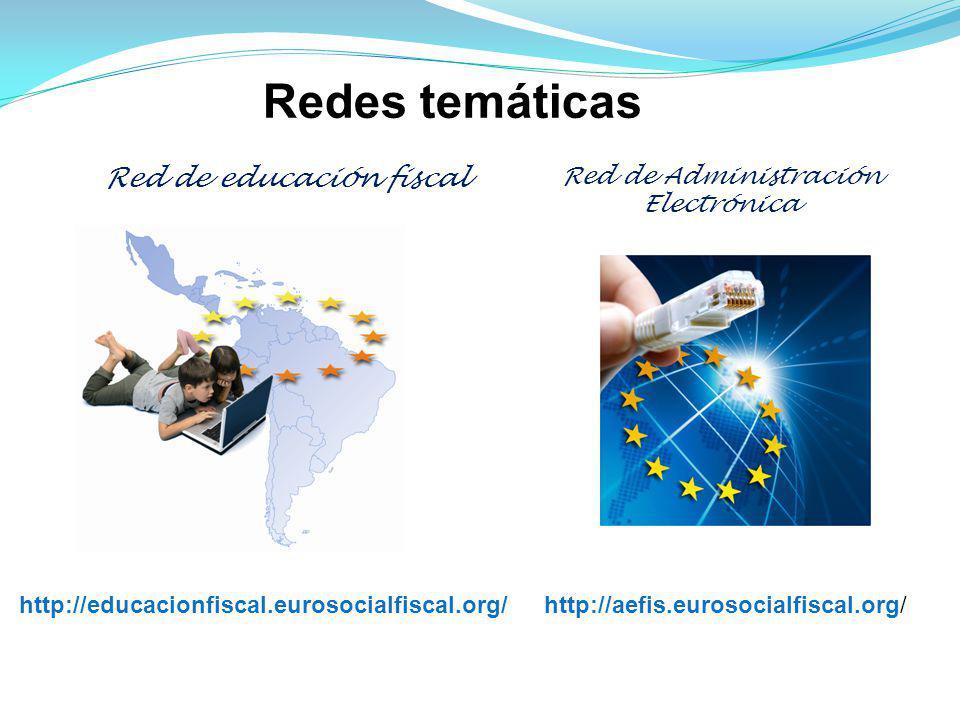 Red de educación fiscal http://educacionfiscal.eurosocialfiscal.org/ Red de Administración Electrónica Redes temáticas http://aefis.eurosocialfiscal.org/