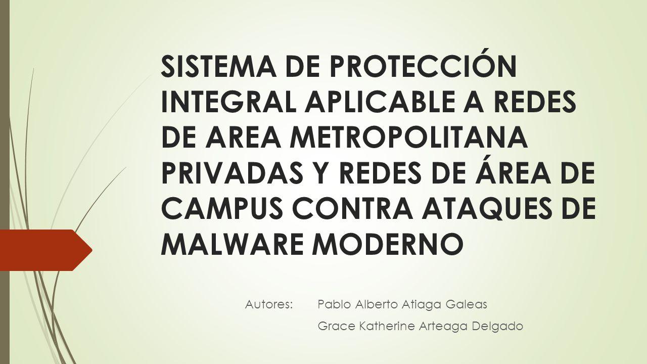 SISTEMA DE PROTECCIÓN INTEGRAL APLICABLE A REDES DE AREA METROPOLITANA PRIVADAS Y REDES DE ÁREA DE CAMPUS CONTRA ATAQUES DE MALWARE MODERNO Autores: P