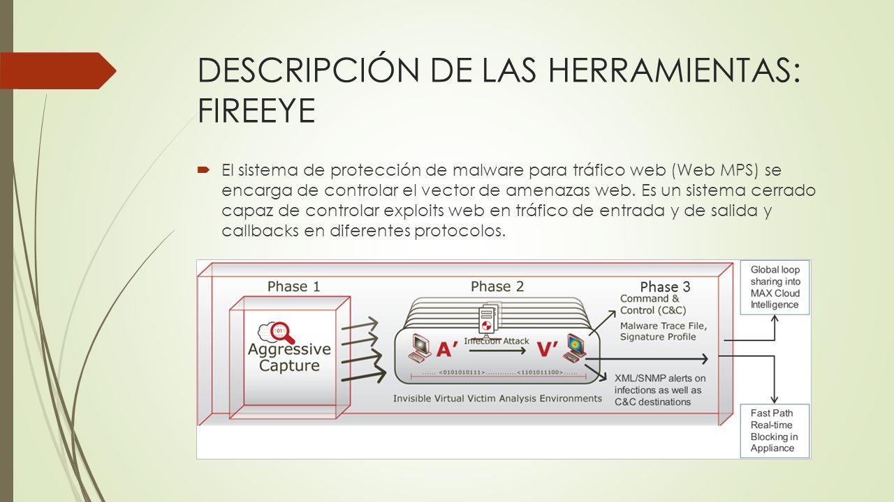 DESCRIPCIÓN DE LAS HERRAMIENTAS: FIREEYE El sistema de protección de malware para tráfico web (Web MPS) se encarga de controlar el vector de amenazas