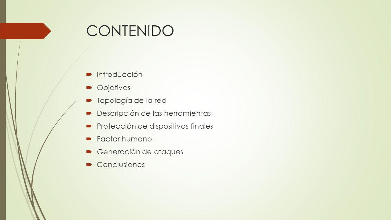CONTENIDO Introducción Objetivos Topología de la red Descripción de las herramientas Protección de dispositivos finales Factor humano Generación de at