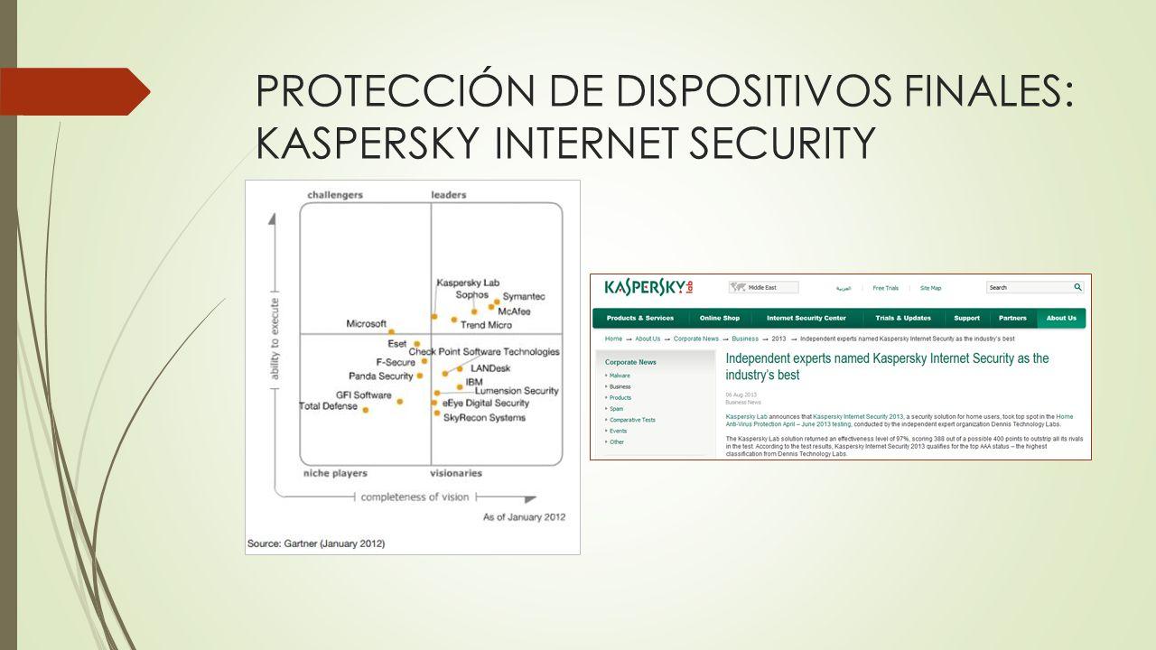 PROTECCIÓN DE DISPOSITIVOS FINALES: KASPERSKY INTERNET SECURITY