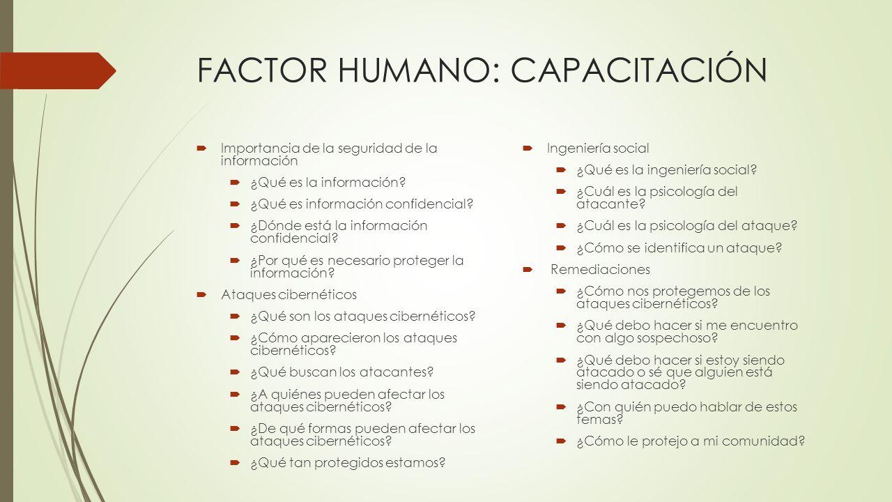 FACTOR HUMANO: CAPACITACIÓN Importancia de la seguridad de la información ¿Qué es la información? ¿Qué es información confidencial? ¿Dónde está la inf