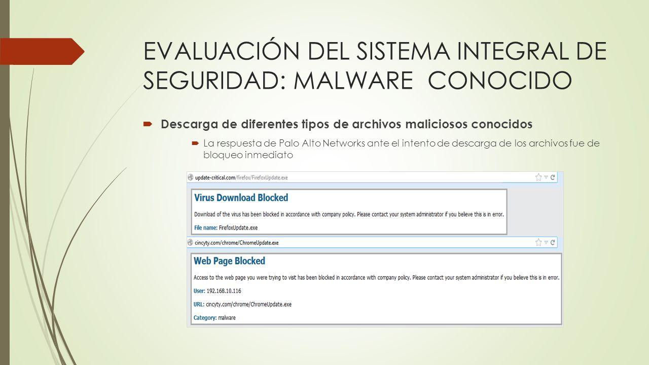 EVALUACIÓN DEL SISTEMA INTEGRAL DE SEGURIDAD: MALWARE CONOCIDO Descarga de diferentes tipos de archivos maliciosos conocidos La respuesta de Palo Alto