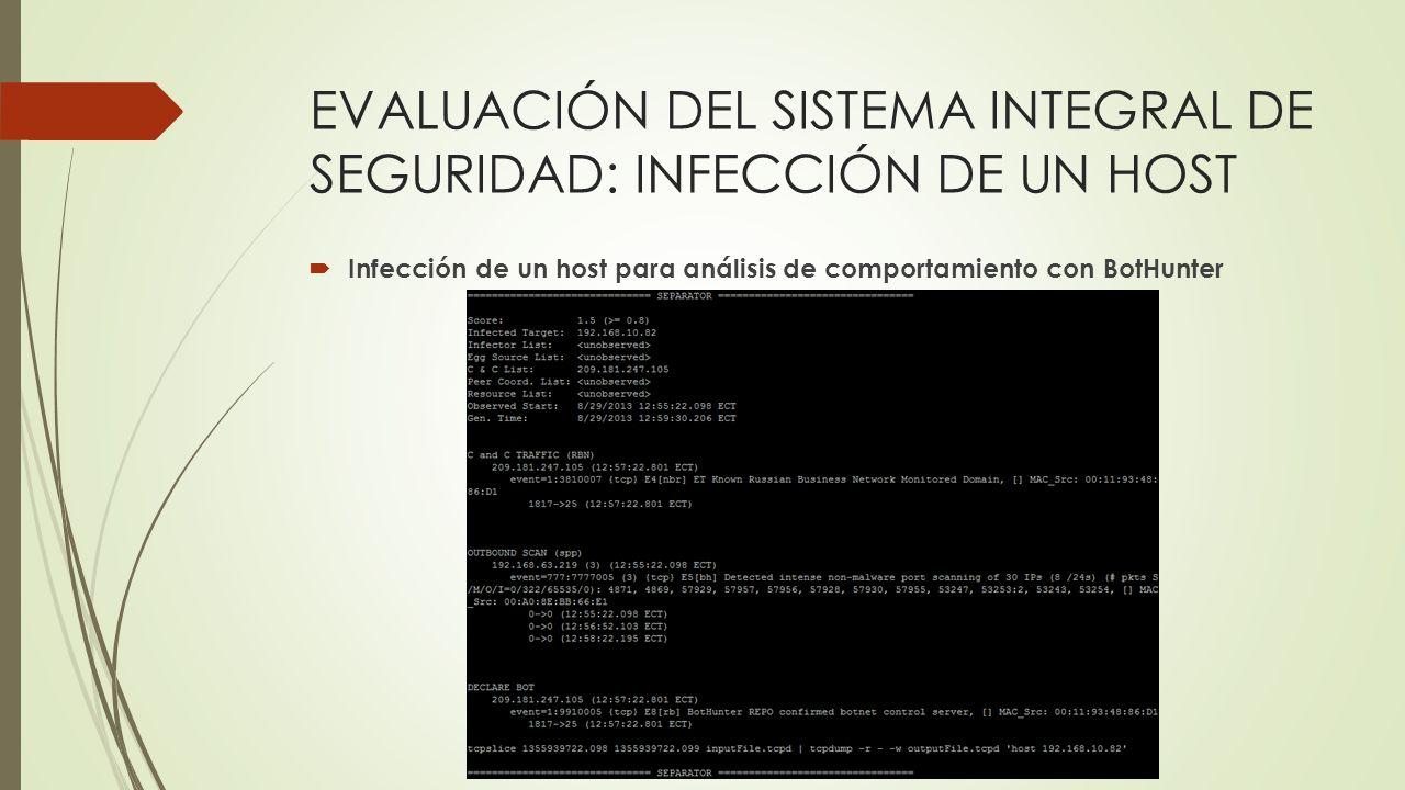EVALUACIÓN DEL SISTEMA INTEGRAL DE SEGURIDAD: INFECCIÓN DE UN HOST Infección de un host para análisis de comportamiento con BotHunter