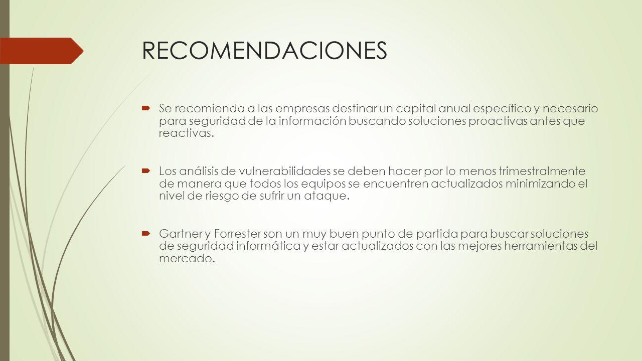 RECOMENDACIONES Se recomienda a las empresas destinar un capital anual específico y necesario para seguridad de la información buscando soluciones pro