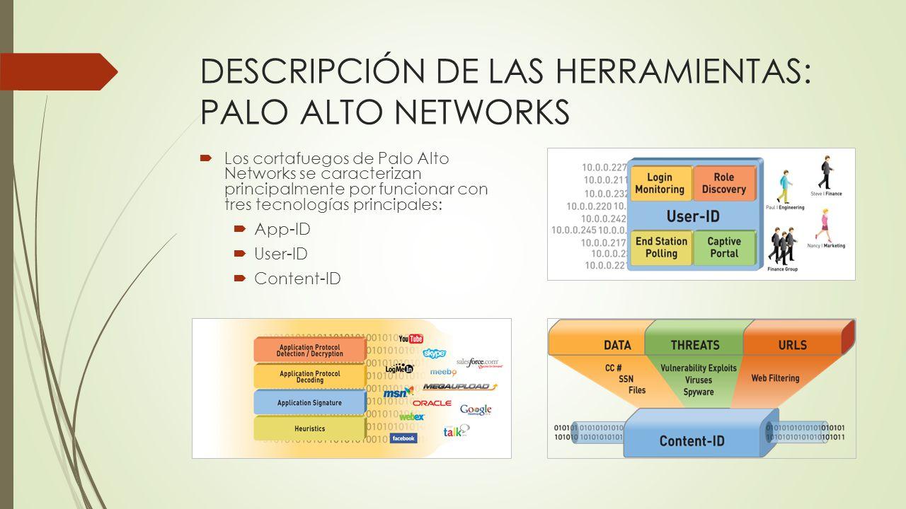 DESCRIPCIÓN DE LAS HERRAMIENTAS: PALO ALTO NETWORKS Los cortafuegos de Palo Alto Networks se caracterizan principalmente por funcionar con tres tecnol