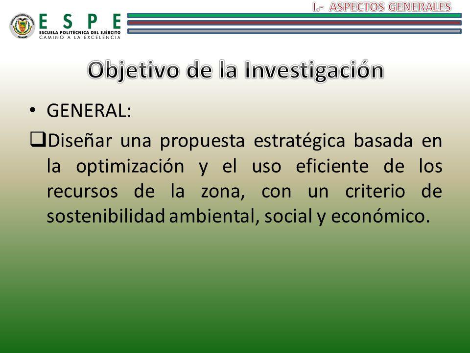 GENERAL: Diseñar una propuesta estratégica basada en la optimización y el uso eficiente de los recursos de la zona, con un criterio de sostenibilidad