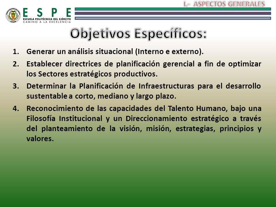 1.Generar un análisis situacional (Interno e externo). 2.Establecer directrices de planificación gerencial a fin de optimizar los Sectores estratégico
