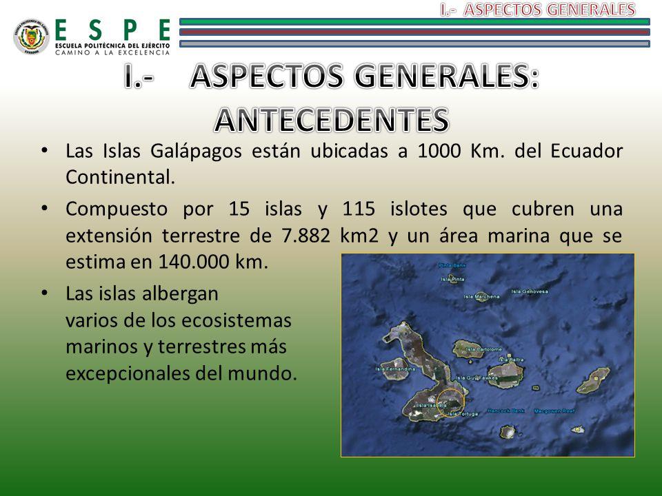 Las Islas Galápagos están ubicadas a 1000 Km. del Ecuador Continental. Compuesto por 15 islas y 115 islotes que cubren una extensión terrestre de 7.88