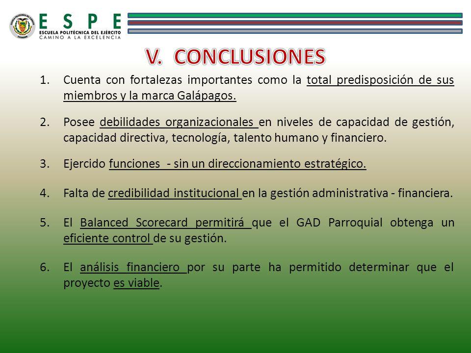 1.Cuenta con fortalezas importantes como la total predisposición de sus miembros y la marca Galápagos. 2.Posee debilidades organizacionales en niveles