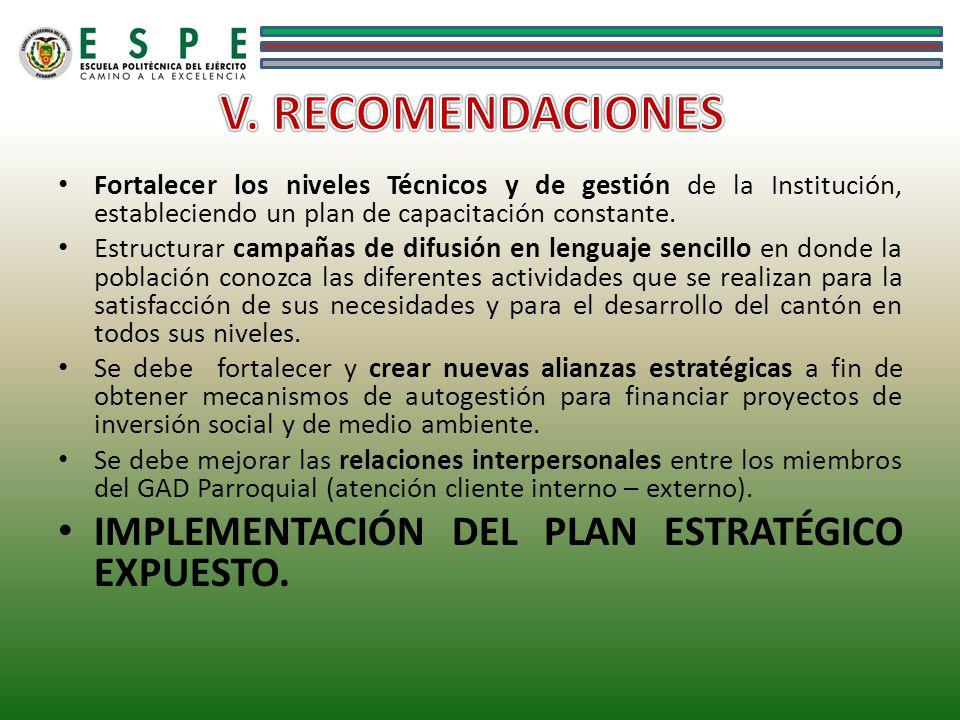 Fortalecer los niveles Técnicos y de gestión de la Institución, estableciendo un plan de capacitación constante. Estructurar campañas de difusión en l
