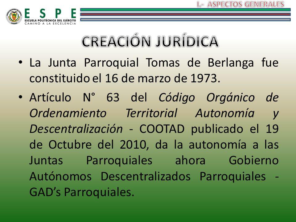 La Junta Parroquial Tomas de Berlanga fue constituido el 16 de marzo de 1973. Artículo N° 63 del Código Orgánico de Ordenamiento Territorial Autonomía