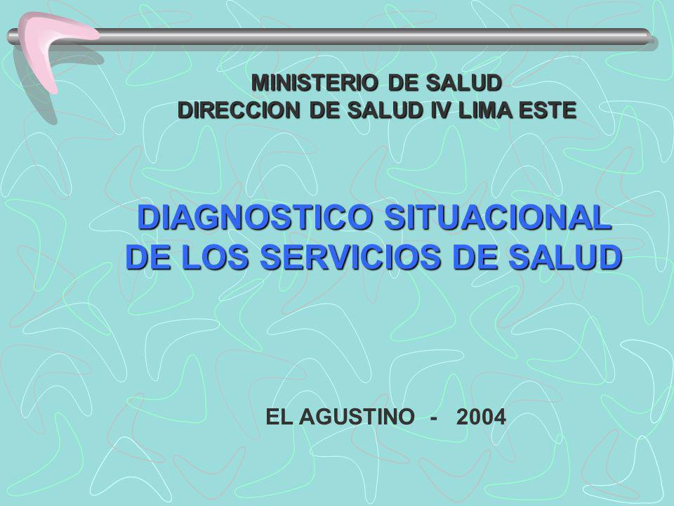 MINISTERIO DE SALUD DIRECCION DE SALUD IV LIMA ESTE DIAGNOSTICO SITUACIONAL DE LOS SERVICIOS DE SALUD EL AGUSTINO - 2004