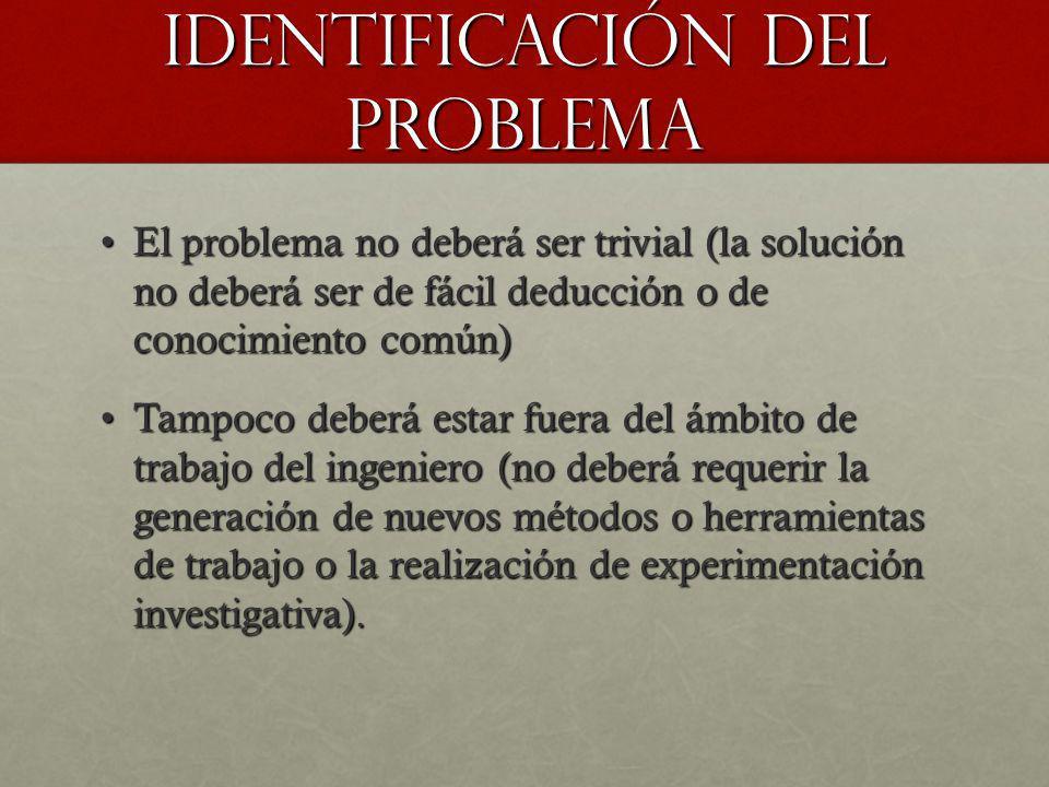 Identificación del problema El problema no deberá ser trivial (la solución no deberá ser de fácil deducción o de conocimiento común)El problema no deb