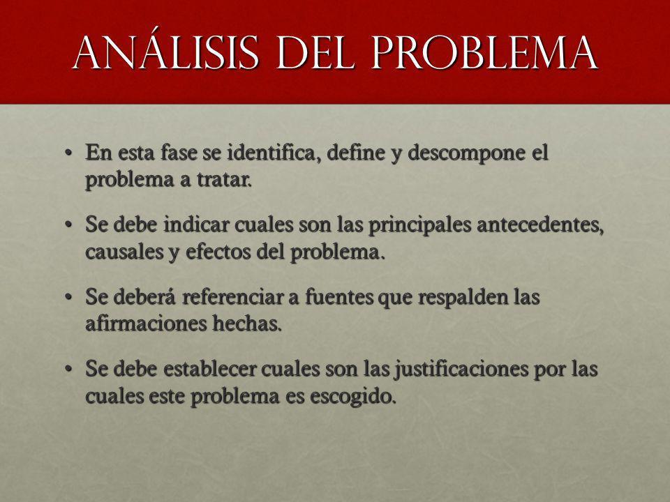 Análisis del problema En esta fase se identifica, define y descompone el problema a tratar.En esta fase se identifica, define y descompone el problema