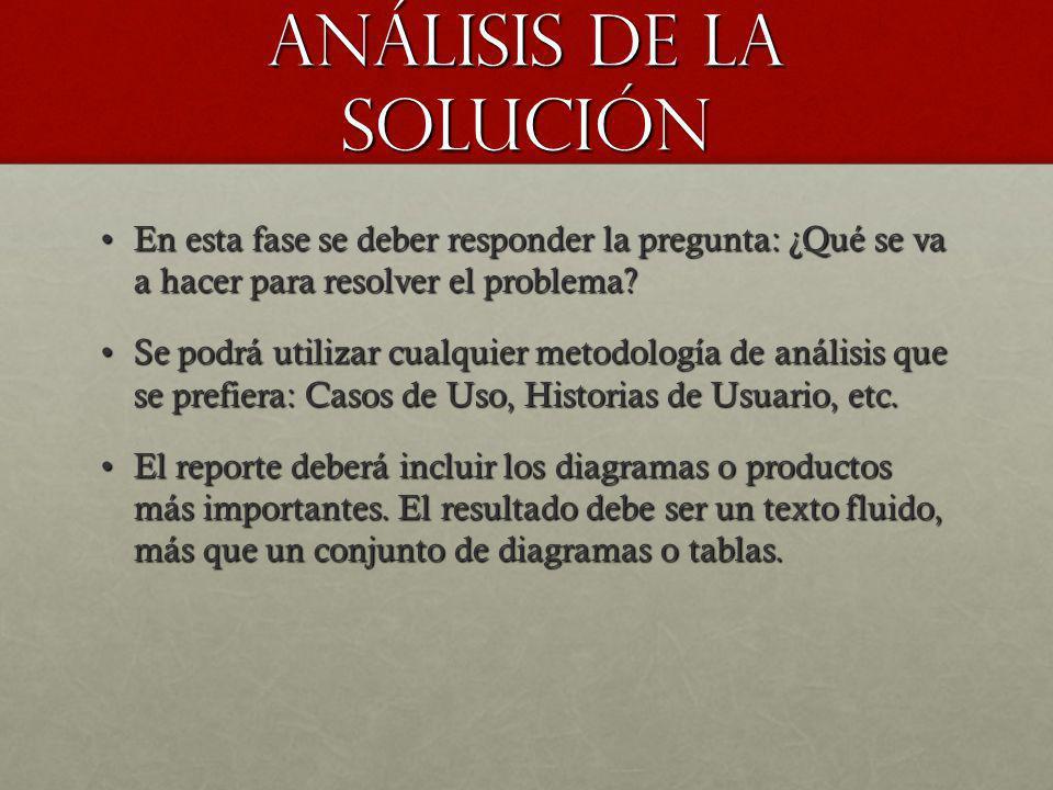 Análisis de la solución En esta fase se deber responder la pregunta: ¿Qué se va a hacer para resolver el problema?En esta fase se deber responder la p