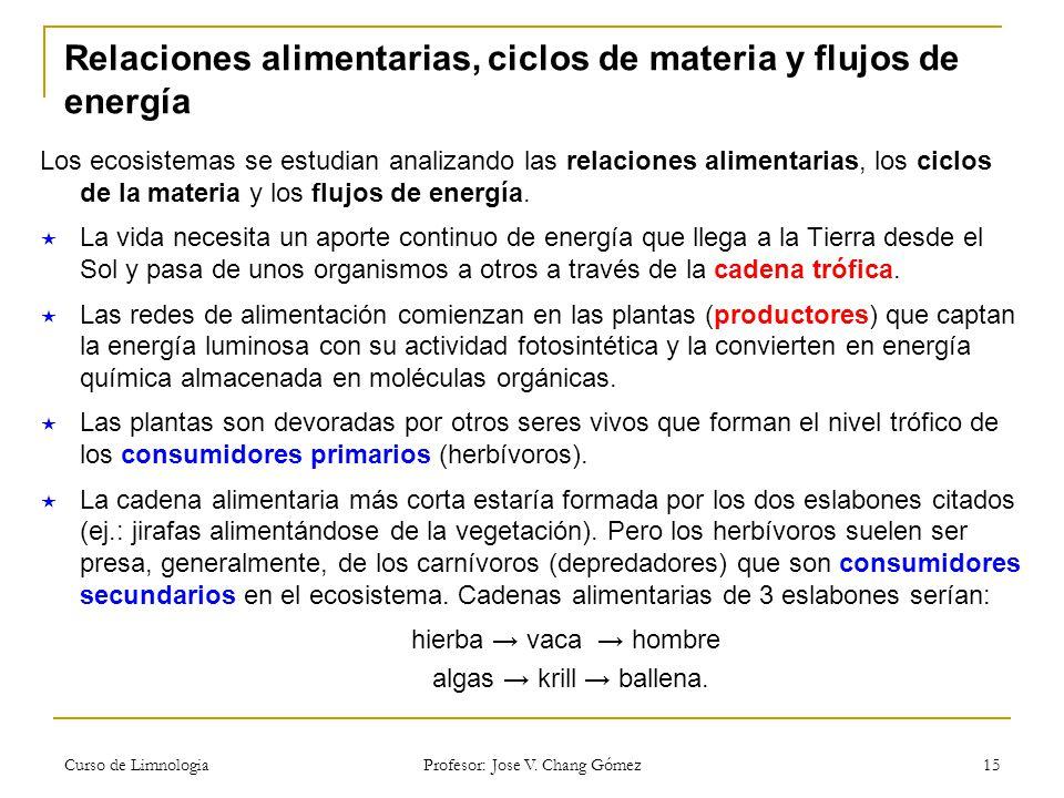 Curso de Limnologia Profesor: Jose V.