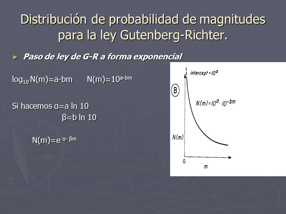 Modelo de distribución de magnitudes. La relación empírica de Gutenberg- Richter : La relación empírica de Gutenberg- Richter : log 10 N (m) = a –bm l
