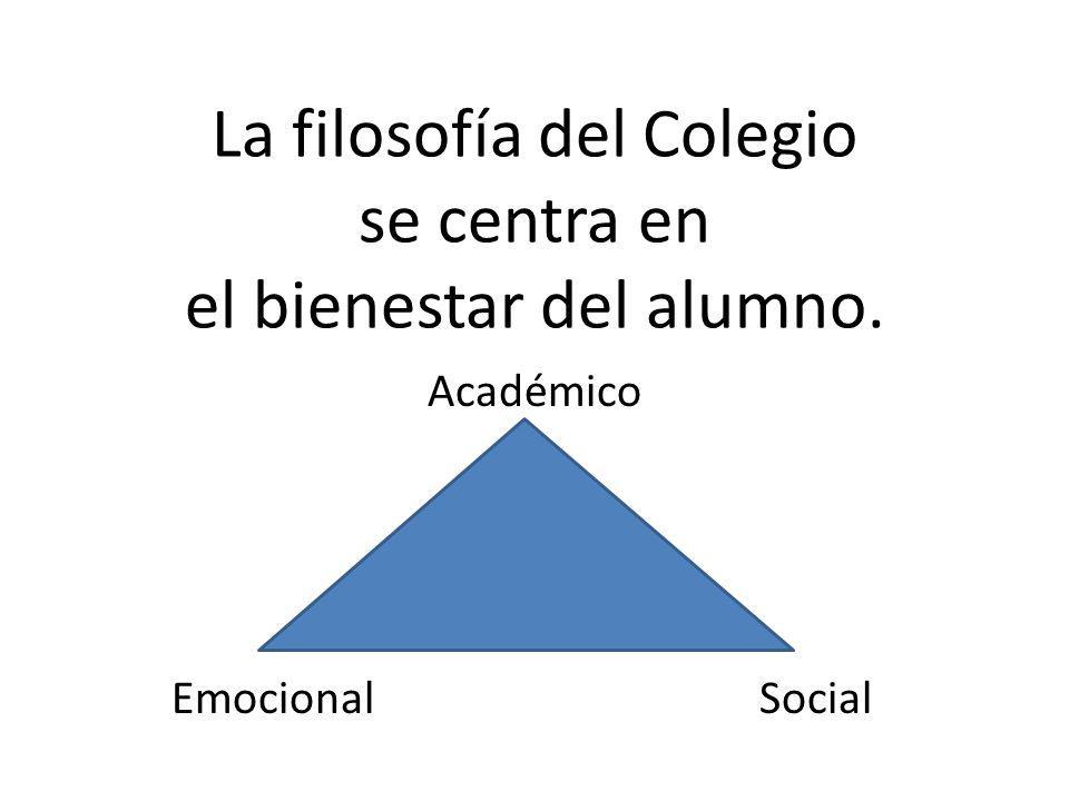 La filosofía del Colegio se centra en el bienestar del alumno. Académico Emocional Social