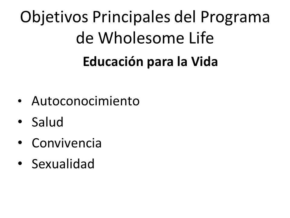 Objetivos Principales del Programa de Wholesome Life Educación para la Vida Autoconocimiento Salud Convivencia Sexualidad