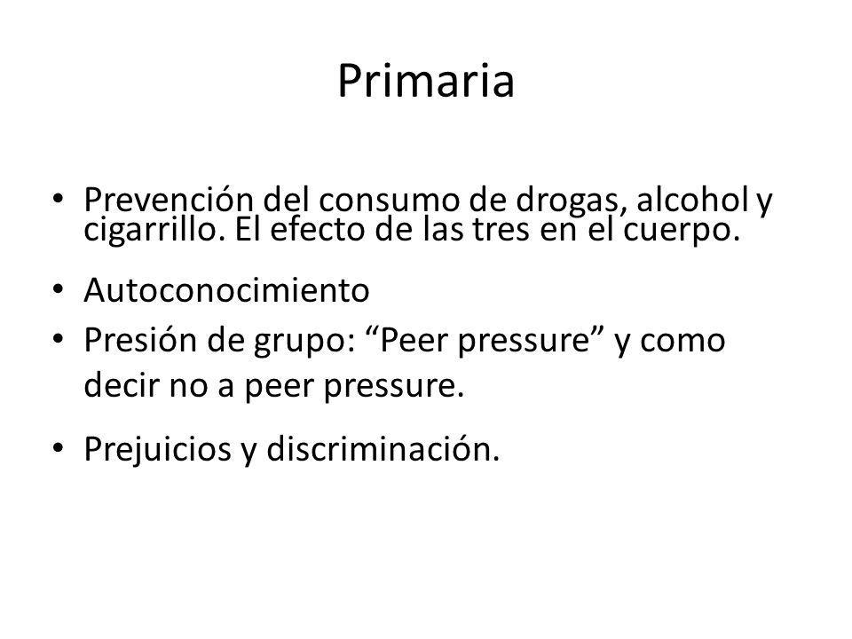 Primaria Prevención del consumo de drogas, alcohol y cigarrillo.