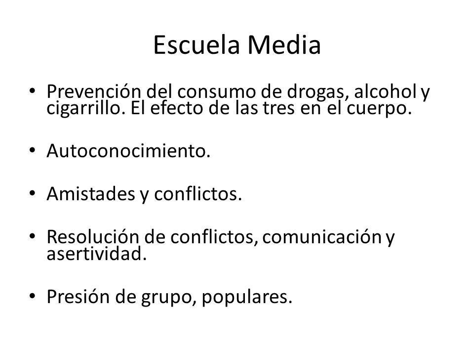 Escuela Media Prevención del consumo de drogas, alcohol y cigarrillo.