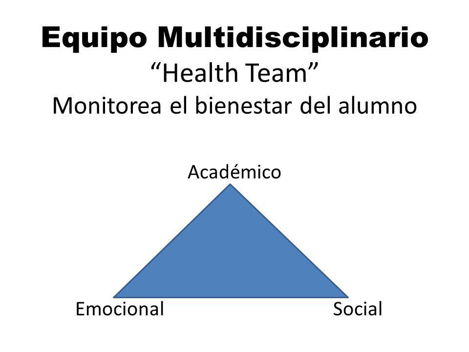Equipo MultidisciplinarioHealth Team Monitorea el bienestar del alumno Académico Emocional Social