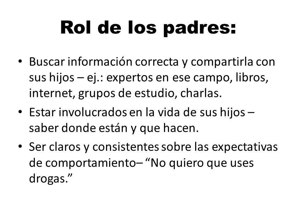 Rol de los padres: Buscar información correcta y compartirla con sus hijos – ej.: expertos en ese campo, libros, internet, grupos de estudio, charlas.