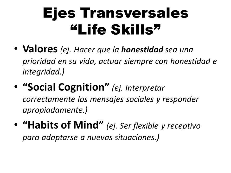 Ejes Transversales Life Skills Valores (ej.