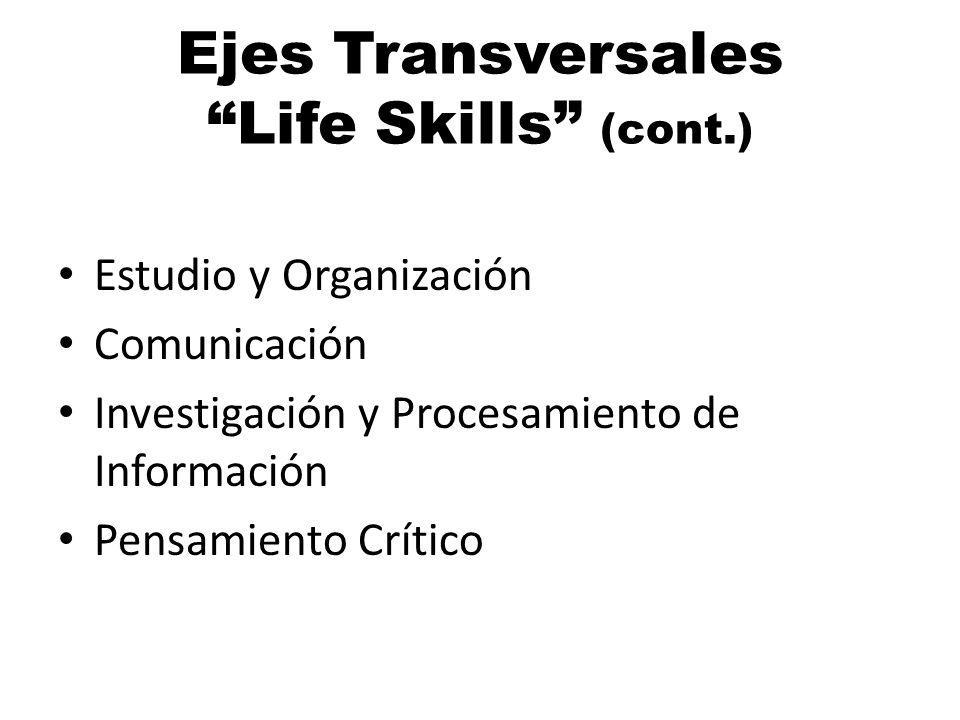 Ejes Transversales Life Skills (cont.) Estudio y Organización Comunicación Investigación y Procesamiento de Información Pensamiento Crítico