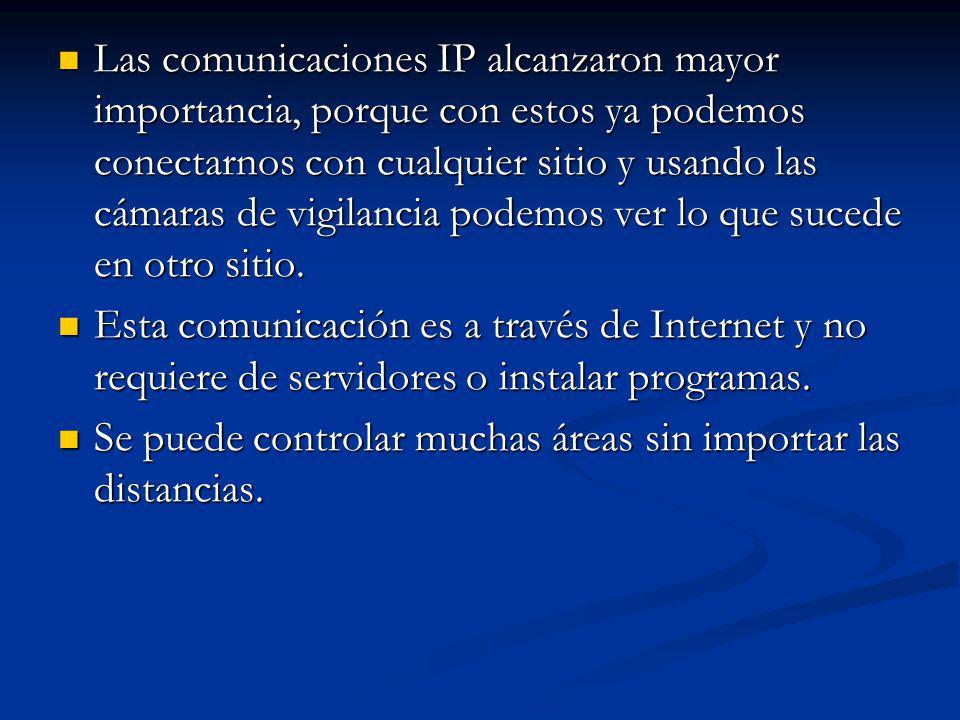 Las comunicaciones IP alcanzaron mayor importancia, porque con estos ya podemos conectarnos con cualquier sitio y usando las cámaras de vigilancia pod