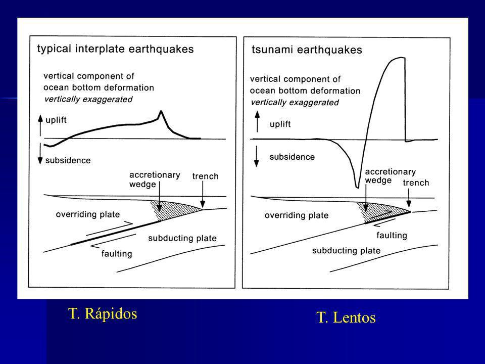 Clasificación de los terremotos productores de tsunami Terremotos Terremotos tsunami génicos o rapidos tsunami o lentos
