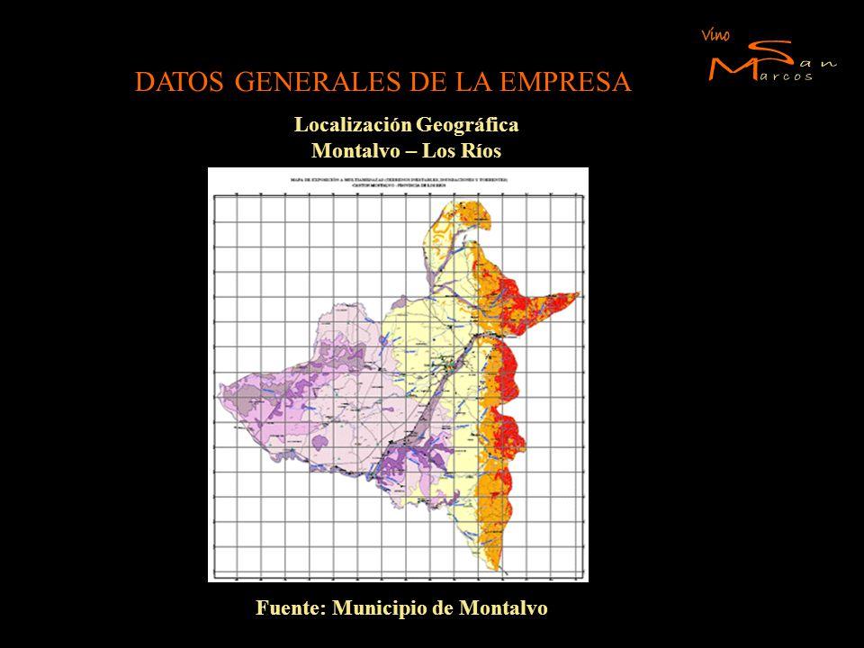 DATOS GENERALES DE LA EMPRESA Localización Geográfica Montalvo – Los Ríos Fuente: Municipio de Montalvo