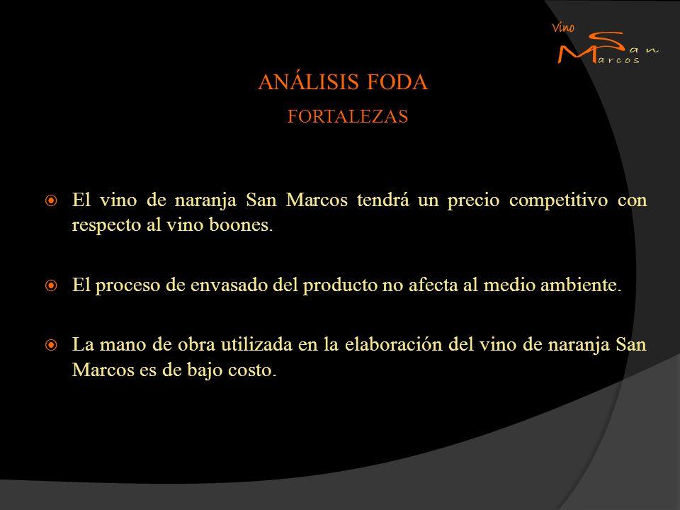 ANÁLISIS FODA FORTALEZAS El vino de naranja San Marcos tendrá un precio competitivo con respecto al vino boones. El proceso de envasado del producto n