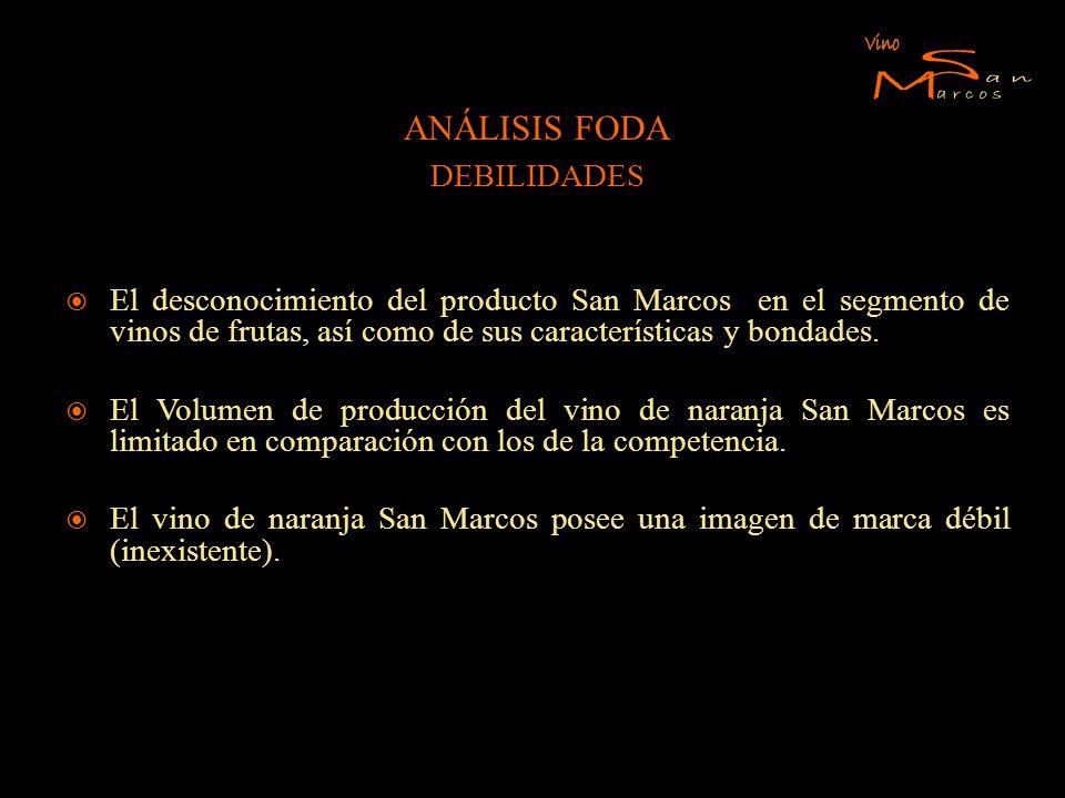 ANÁLISIS FODA DEBILIDADES El desconocimiento del producto San Marcos en el segmento de vinos de frutas, así como de sus características y bondades. El