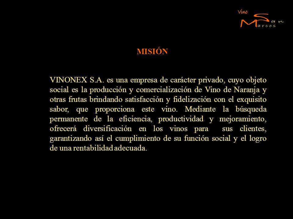 MISIÓN VINONEX S.A. es una empresa de carácter privado, cuyo objeto social es la producción y comercialización de Vino de Naranja y otras frutas brind