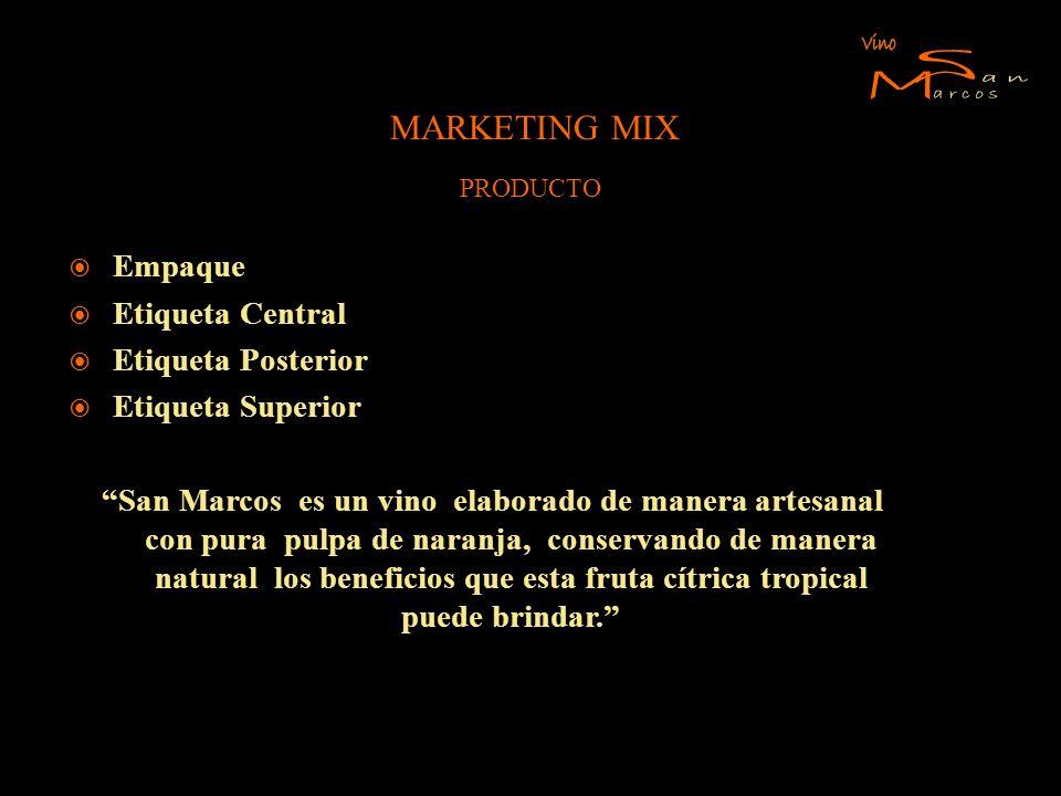 MARKETING MIX Empaque Etiqueta Central Etiqueta Posterior Etiqueta Superior San Marcos es un vino elaborado de manera artesanal con pura pulpa de nara