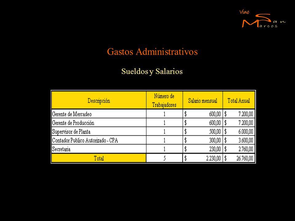 Gastos Administrativos Sueldos y Salarios