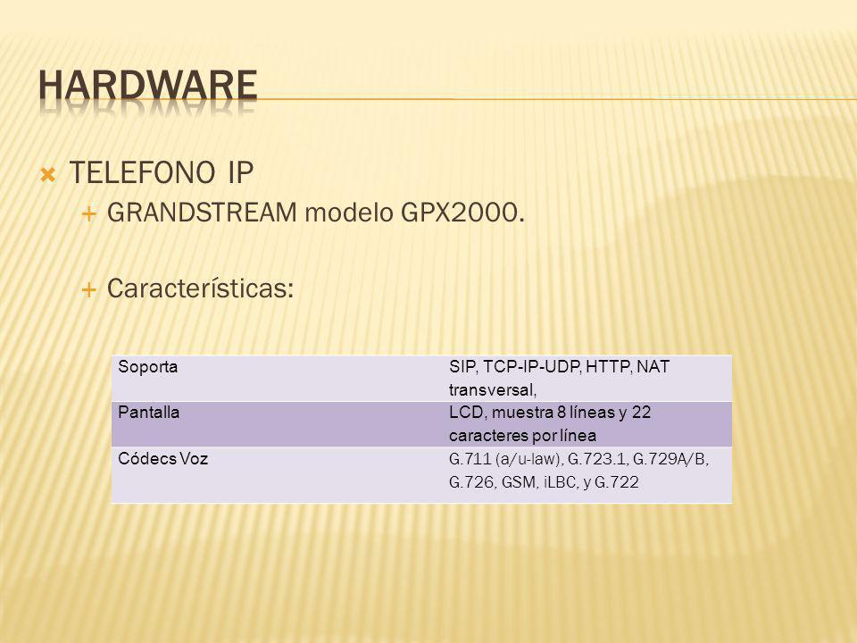 TELEFONO IP GRANDSTREAM modelo GPX2000. Características: Soporta SIP, TCP-IP-UDP, HTTP, NAT transversal, Pantalla LCD, muestra 8 líneas y 22 caractere
