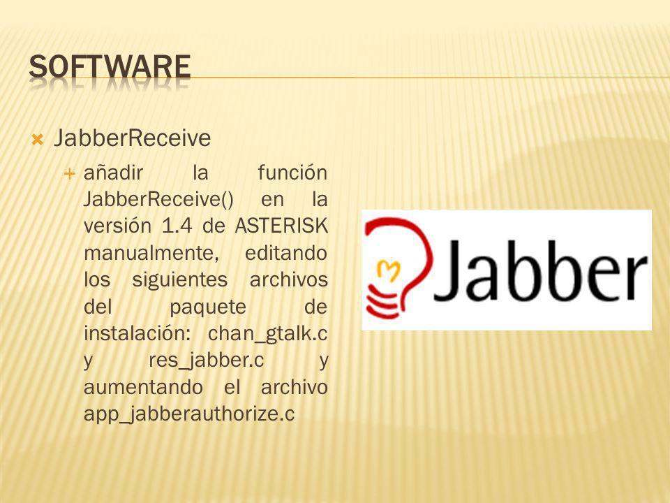 JabberReceive añadir la función JabberReceive() en la versión 1.4 de ASTERISK manualmente, editando los siguientes archivos del paquete de instalación