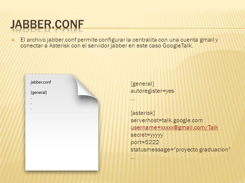 El archivo jabber.conf permite configurar la centralita con una cuenta gmail y conectar a Asterisk con el servidor jabber en este caso GoogleTalk. [ge
