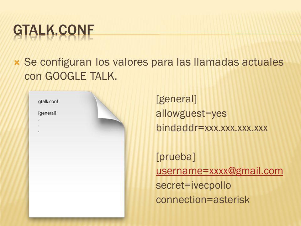 Se configuran los valores para las llamadas actuales con GOOGLE TALK. [general] allowguest=yes bindaddr=xxx.xxx.xxx.xxx [prueba] username=xxxx@gmail.c