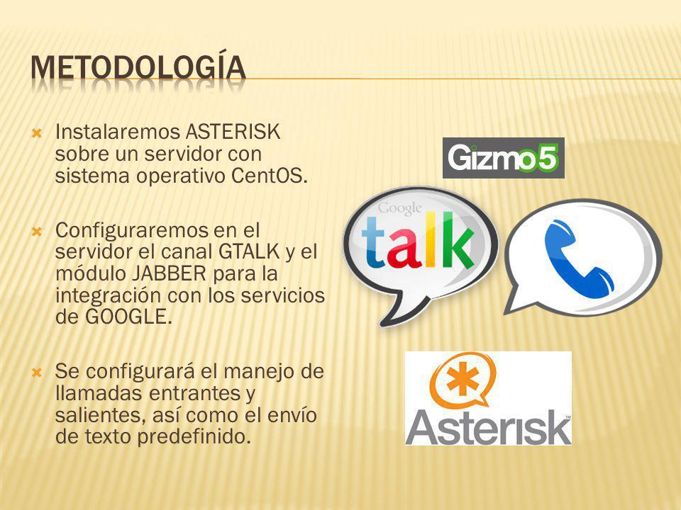 Instalaremos ASTERISK sobre un servidor con sistema operativo CentOS. Configuraremos en el servidor el canal GTALK y el módulo JABBER para la integrac