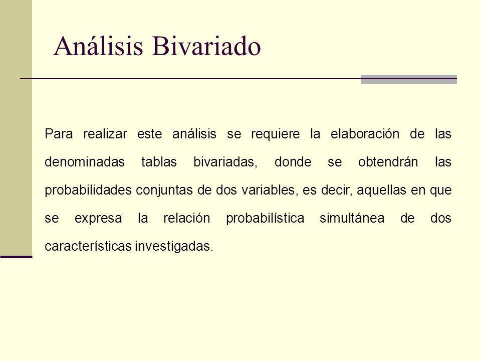 Análisis Bivariado Para realizar este análisis se requiere la elaboración de las denominadas tablas bivariadas, donde se obtendrán las probabilidades