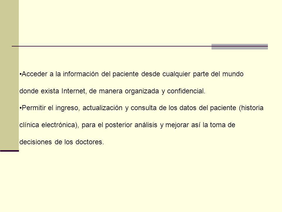 Acceder a la información del paciente desde cualquier parte del mundo donde exista Internet, de manera organizada y confidencial. Permitir el ingreso,