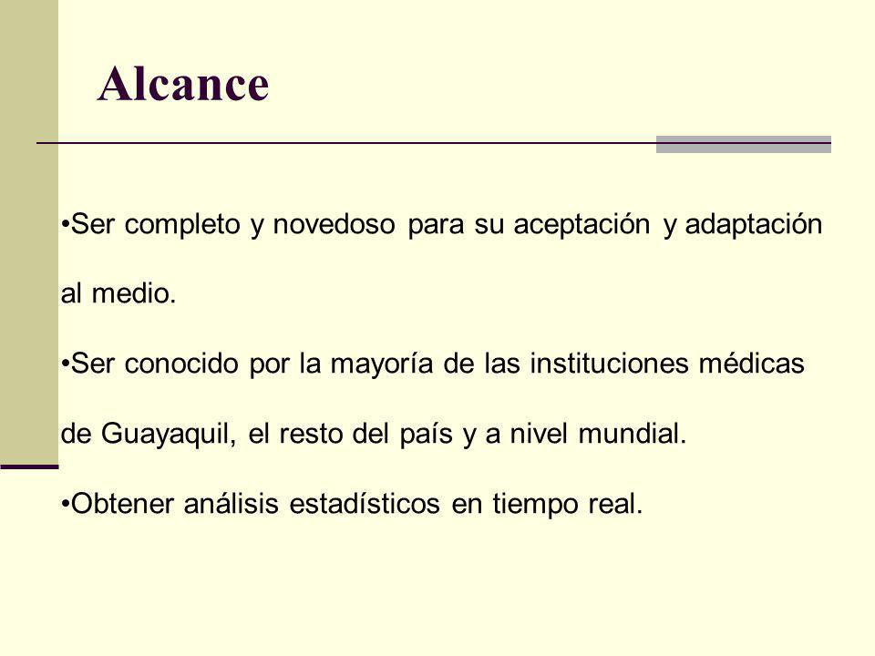 Alcance Ser completo y novedoso para su aceptación y adaptación al medio. Ser conocido por la mayoría de las instituciones médicas de Guayaquil, el re
