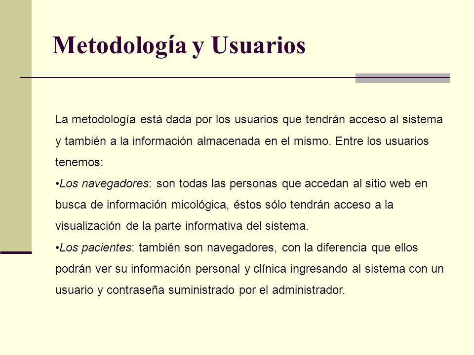 Metodolog í a y Usuarios La metodología está dada por los usuarios que tendrán acceso al sistema y también a la información almacenada en el mismo. En